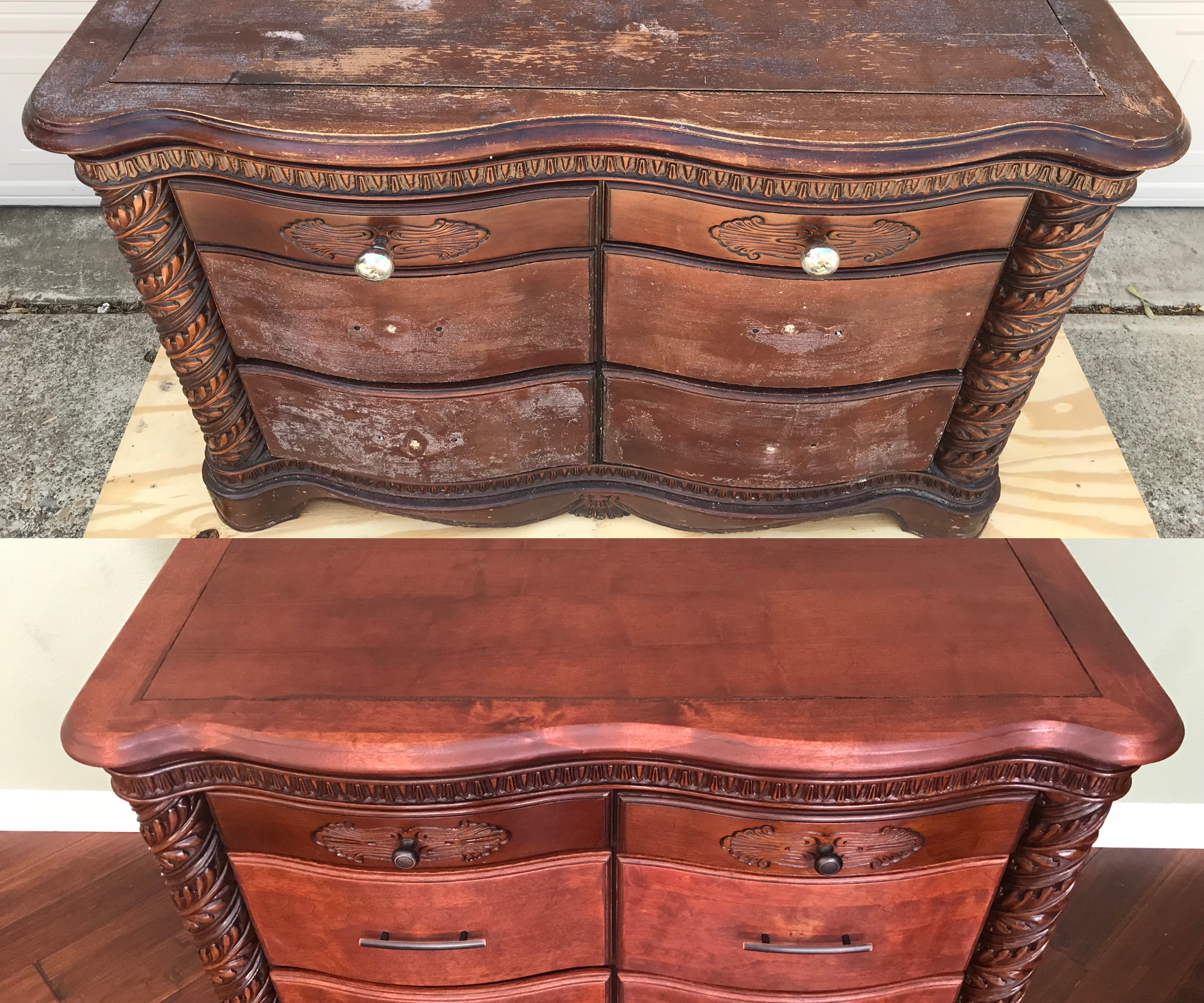 Furniture Restoration: Decoupage Removal and Refinishing