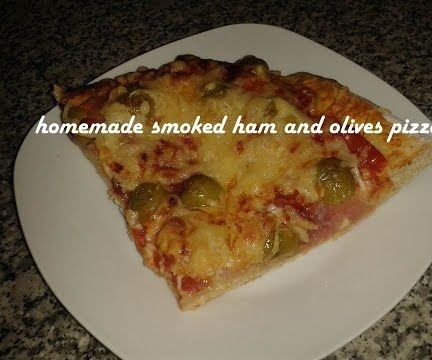 Homemade Smoked Ham and Olives Pizza Recipe