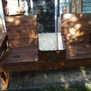 Reclaimed Wood Pallet Double Chair Bench