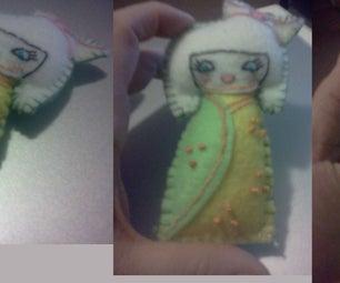 Embroidered Kokeshi Doll