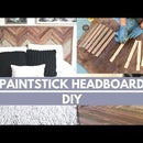 Wood Headboard Using Paint Stir Sticks