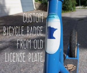 Upcycled License Plate Bike Badge