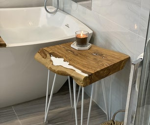 Olive Wood/Epoxy Resin Side Table/Seat