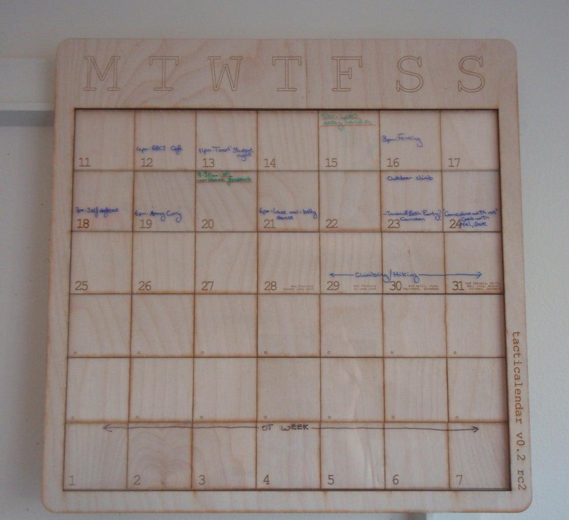 Perpetual-horizon, Laser-cut Erasable Calendar