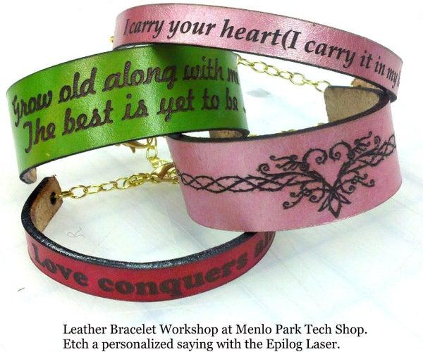 Laser Etched Leather Bracelets - Valentines Gifts