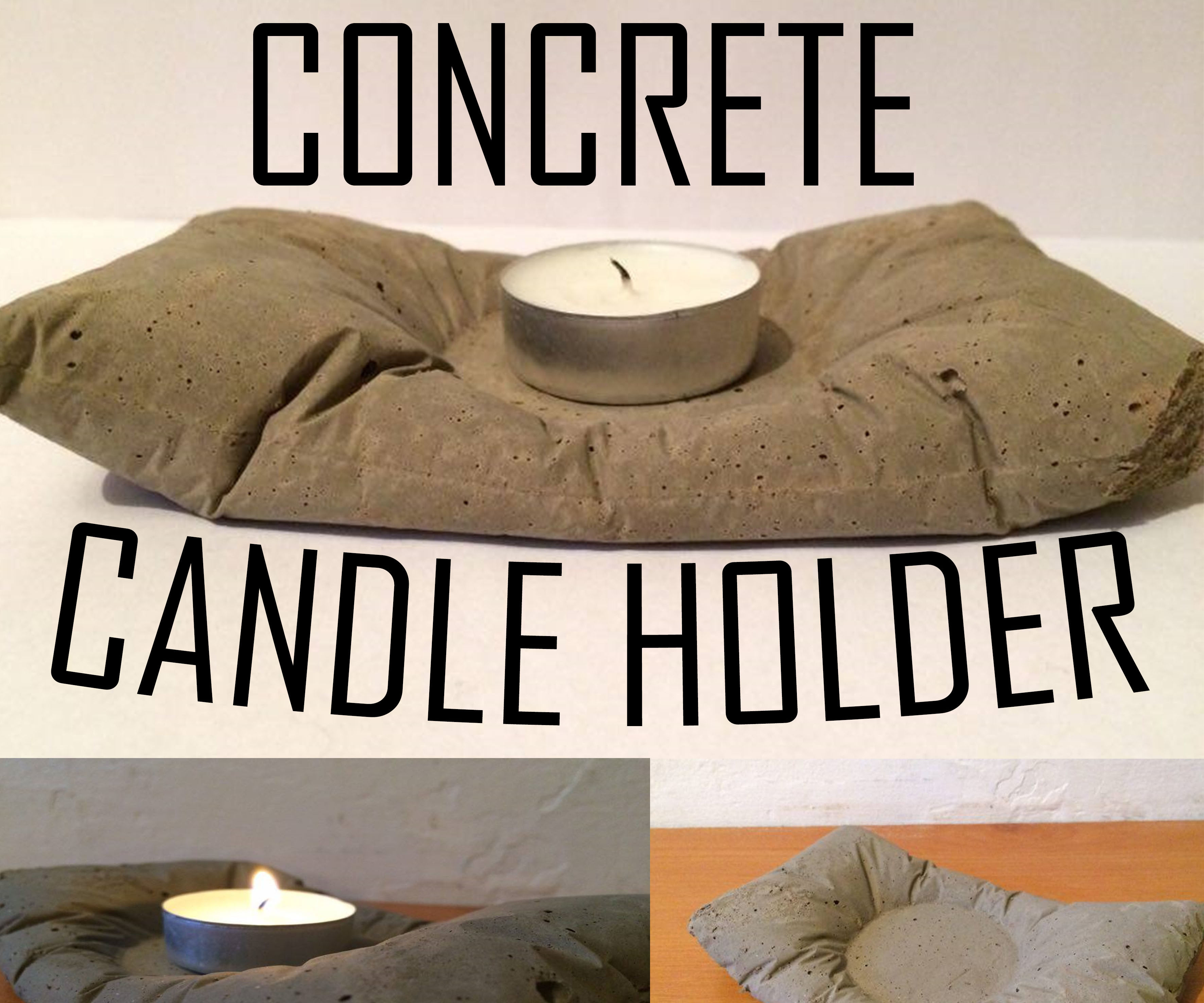 Pillow Concrete Candle Holder