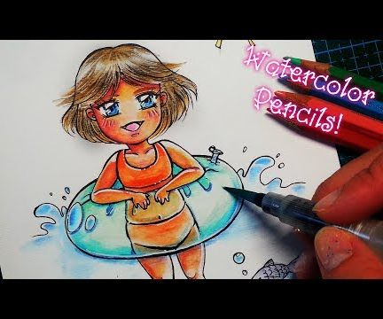 How to Draw Chibi Summer Girl - Watercolor Pencils Tutorial