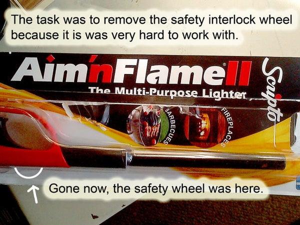 Scripto Aim'n Flame Lighter - Trigger Wheel Lock Removal