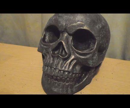 Reactive Bronze Metallic Paint With Green Patina - Concrete Skull Cast