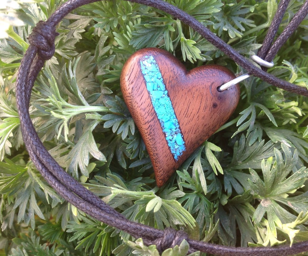 Wood Heart Pendant With Turquoise Inlay