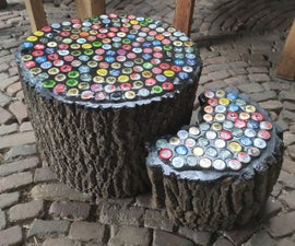 Bottle Cap Tree Trunk Table