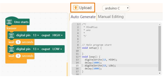 """Click """"Upload """" to Burn the Codes Into Arduino Board."""