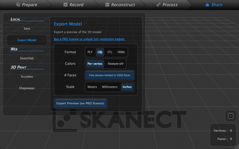 Export Skanect Model