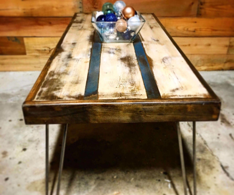 DIY Pinstripe Coffee Table
