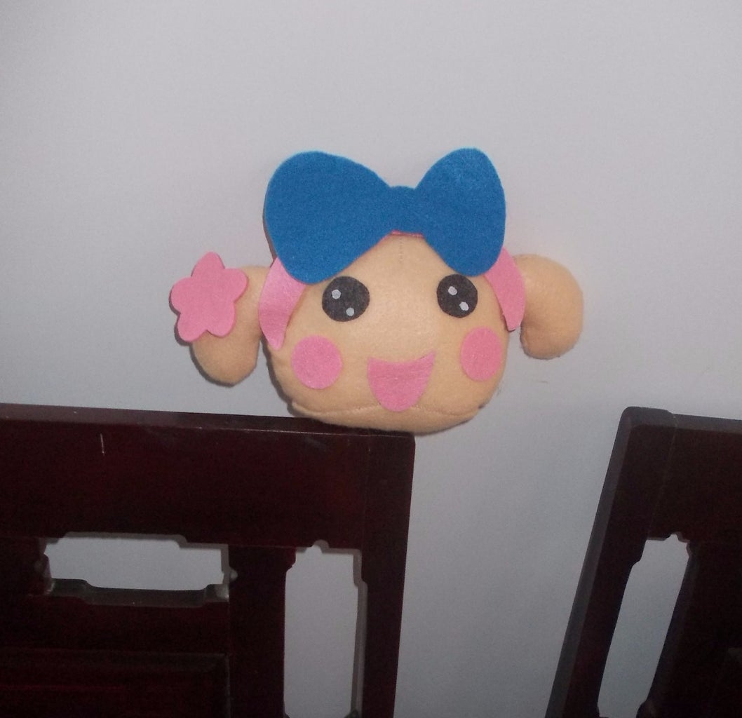 Draw the White Dots on the Eyes. Done. You Have Miss La Sen Felt Plush Head.