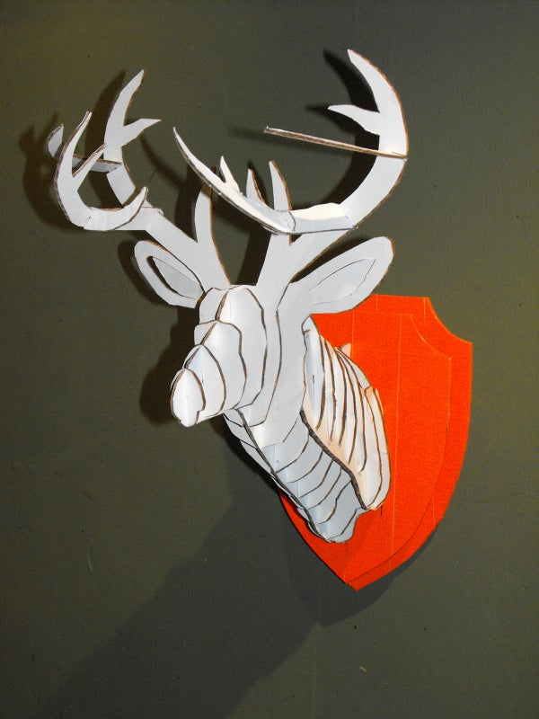 3D Cardboard & Duct Tape Deer Head Trophy With Template
