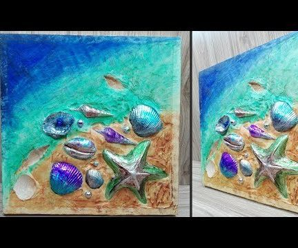How to Make Embossed Sea Shell Painting | Beach Painting