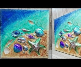 How to Make Embossed Sea Shell Painting   Beach Painting