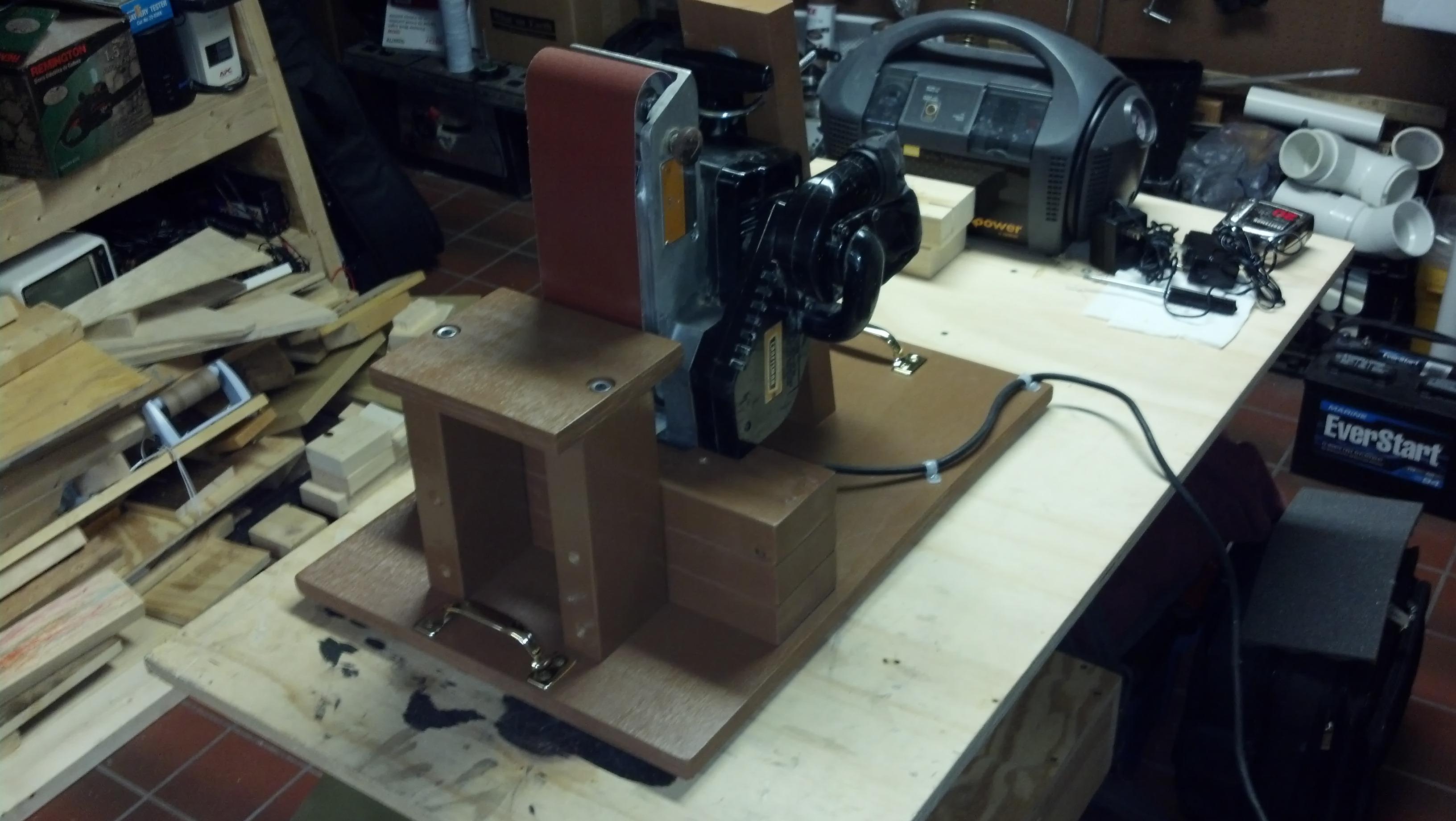 """Old """"Portable"""" Belt Sander Workbench Mount"""