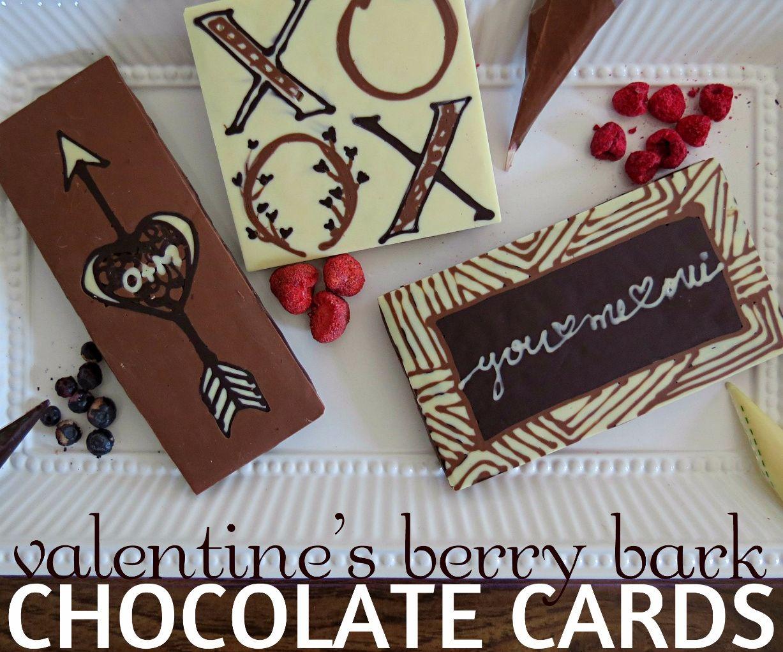 Chocolate Greeting Cards: Valentine's Berry Bark