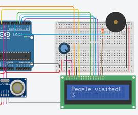 Bi-Directional Visitor Counter Using Single Ultrasonic Sensor With LCD on TinkerCad