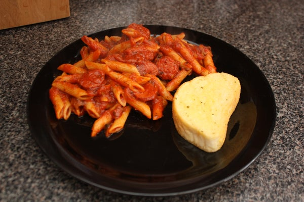 Penne Rigate With Rum Smoked Sausage in Tomato Pasta Sauce