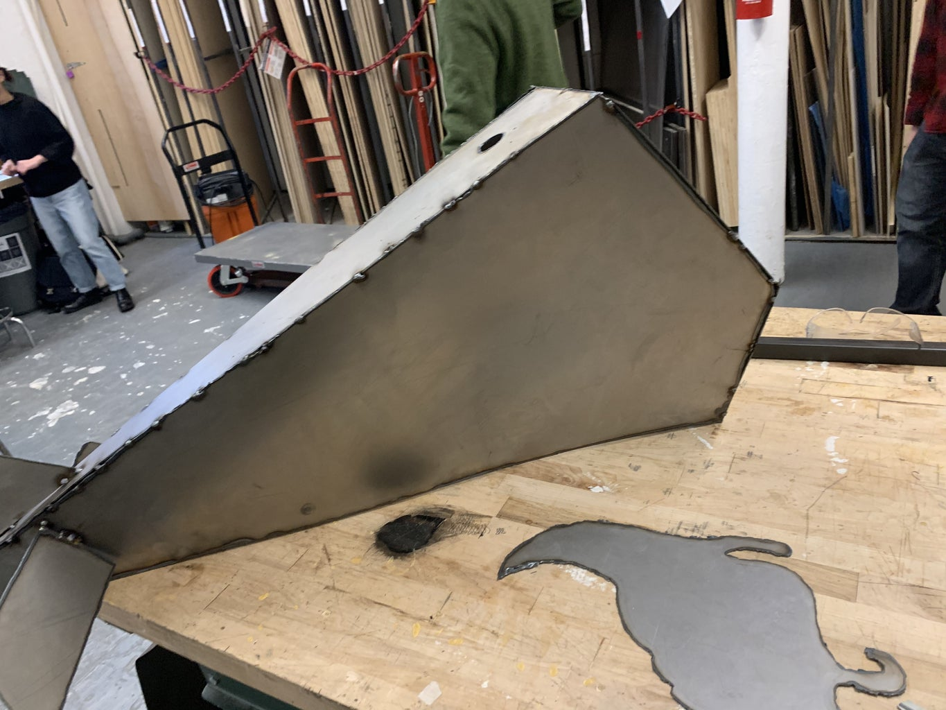 Lay Copter Unpaid Down and Plasma Cut Hole in the Top