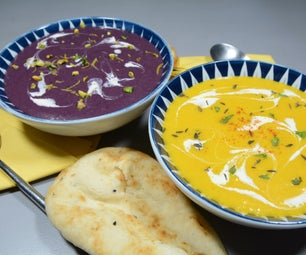 Carrot and Potato Soup Two Ways - Yellow and Purple