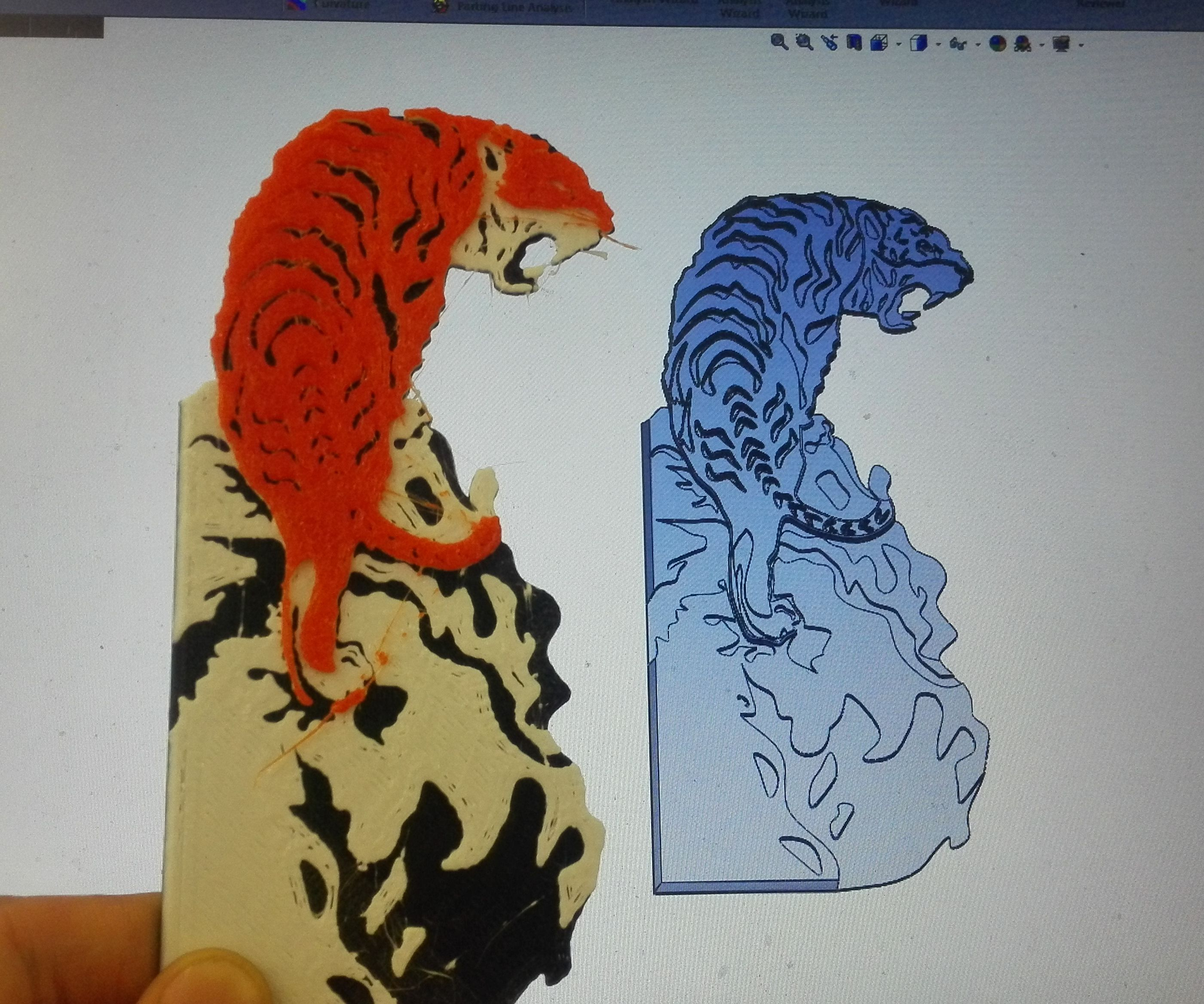Tiger Painting 3d Printed