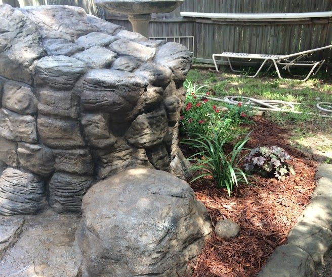 Backyard Faux Rock Garden