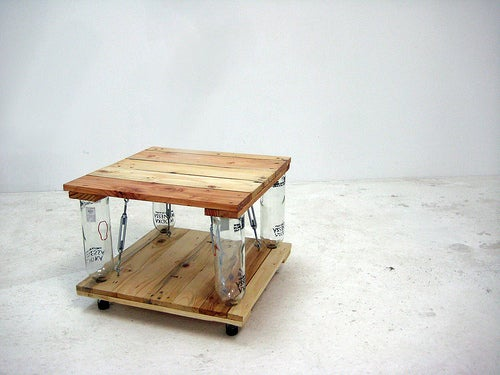 Ten Green Coffee Table - From Reclaimed Timber and Glass Bottles