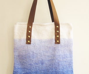 Ombre Dyed Yarn and Studded Leather Handle Knit Carry-All