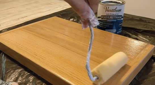 Painting the Top Board With Clear Protective Top Coat