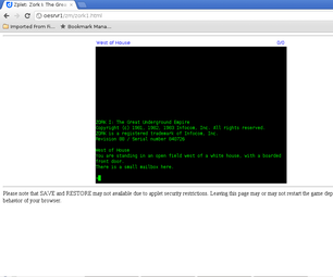 Installing Zork and the Zmachine on Your Web Server.