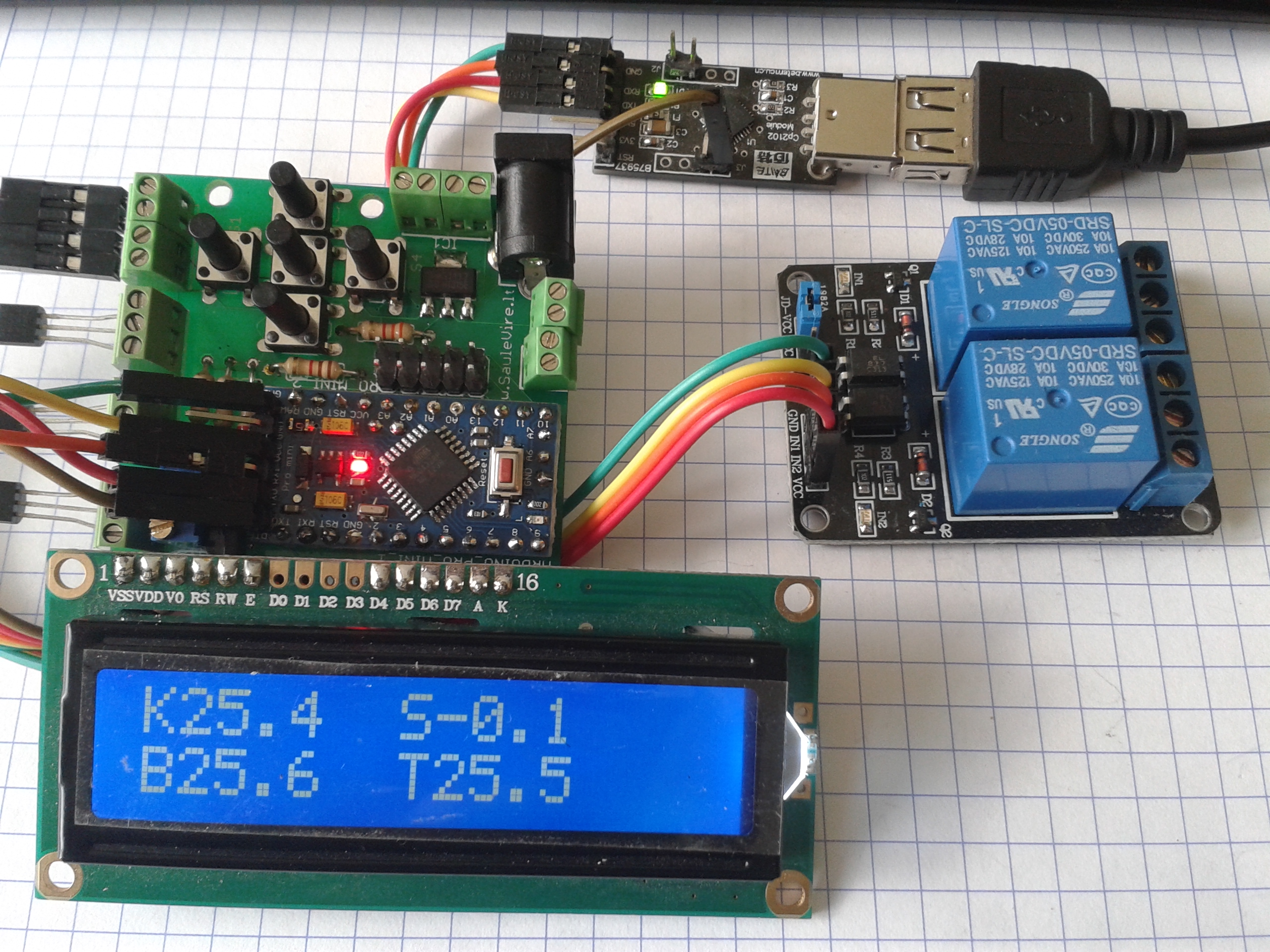 Hot water solar collector controller with thermostat v1.2