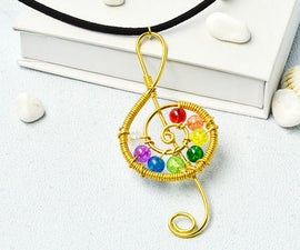 Beebeecraft Tutorials on How to Make Musical Note Wrapped Necklace