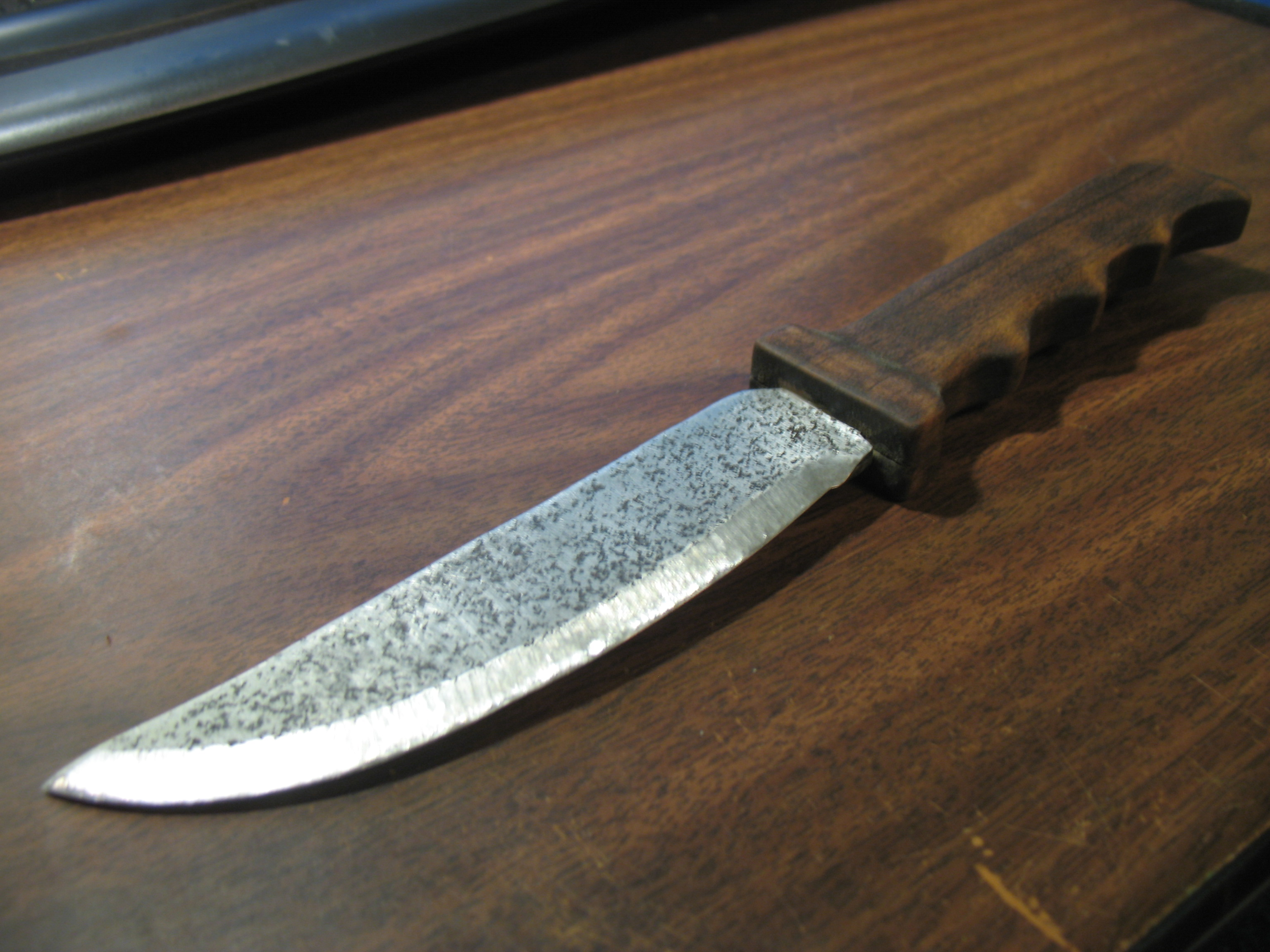Homemade Steel Knife with Carved Handle