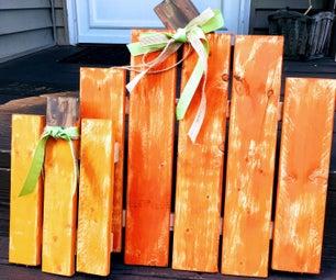 Scrap Wood Porch Pumpkins