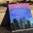 Night Sky and Tree Silhouette Painting