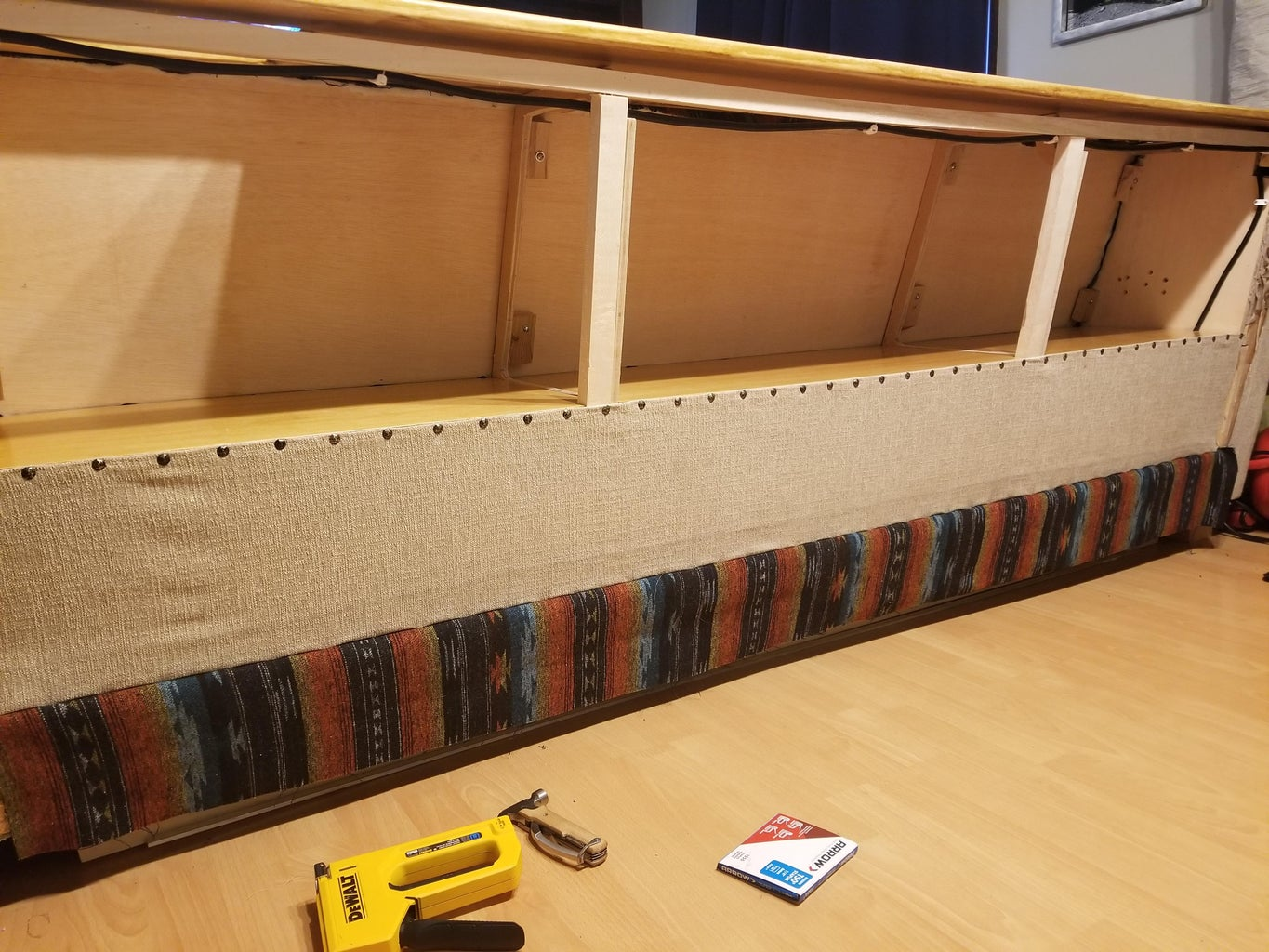 Finishing Up the Back - Floor Boards and Fabric