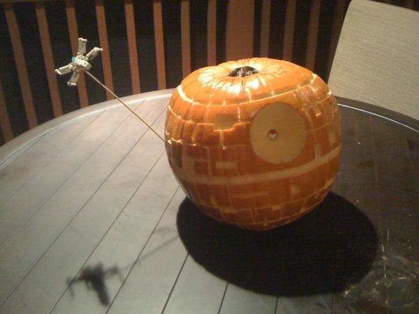 Death Star Jack O' Lantern W/ Mini X-Wing Fighter