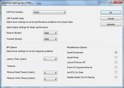 Reducing FTDI Serial Latency