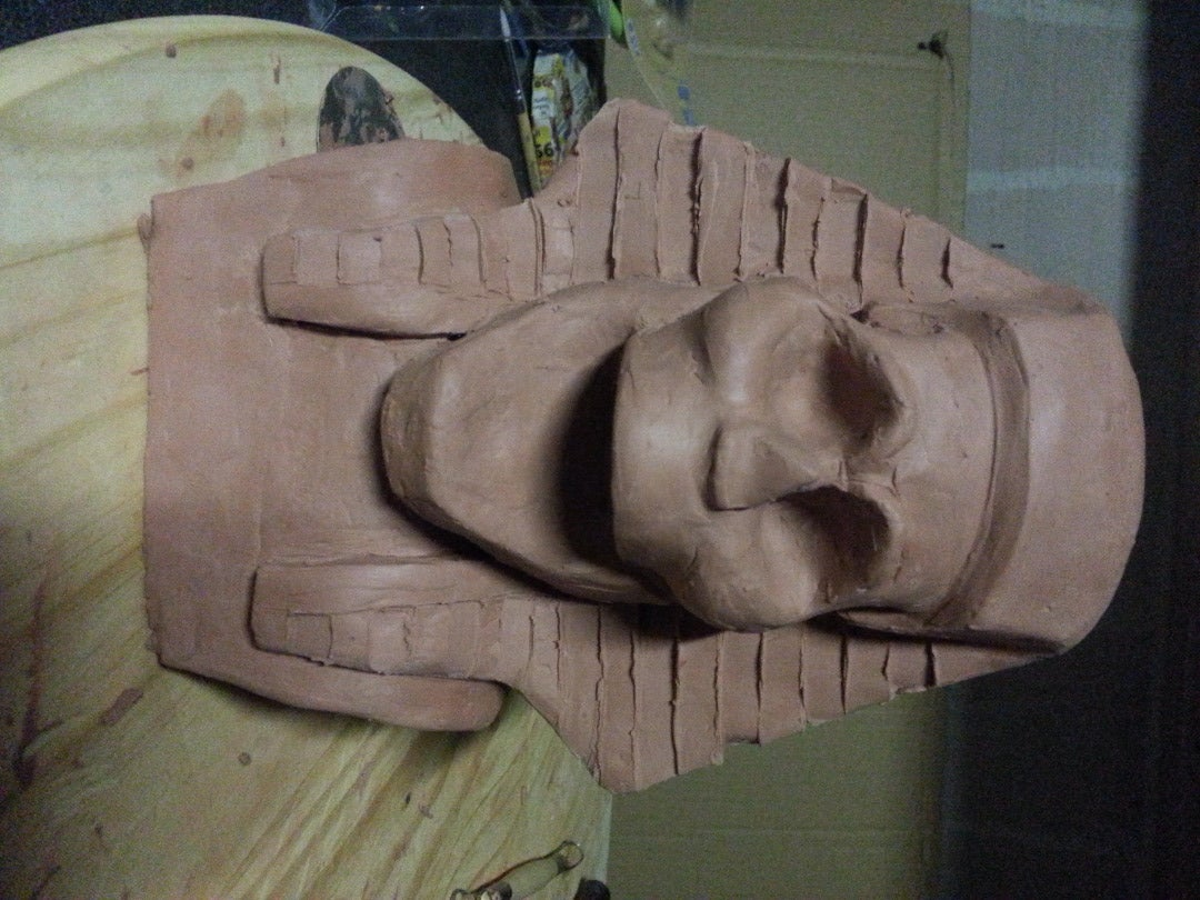 Smoothing and Carving the Headdress