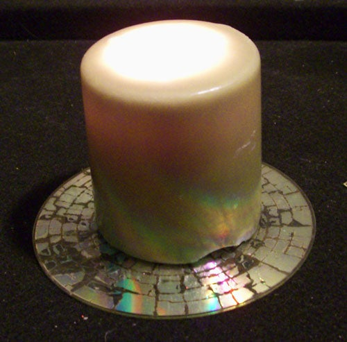 Microwaved CD Candle Holder