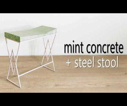 Mint Concrete & Steel Stool