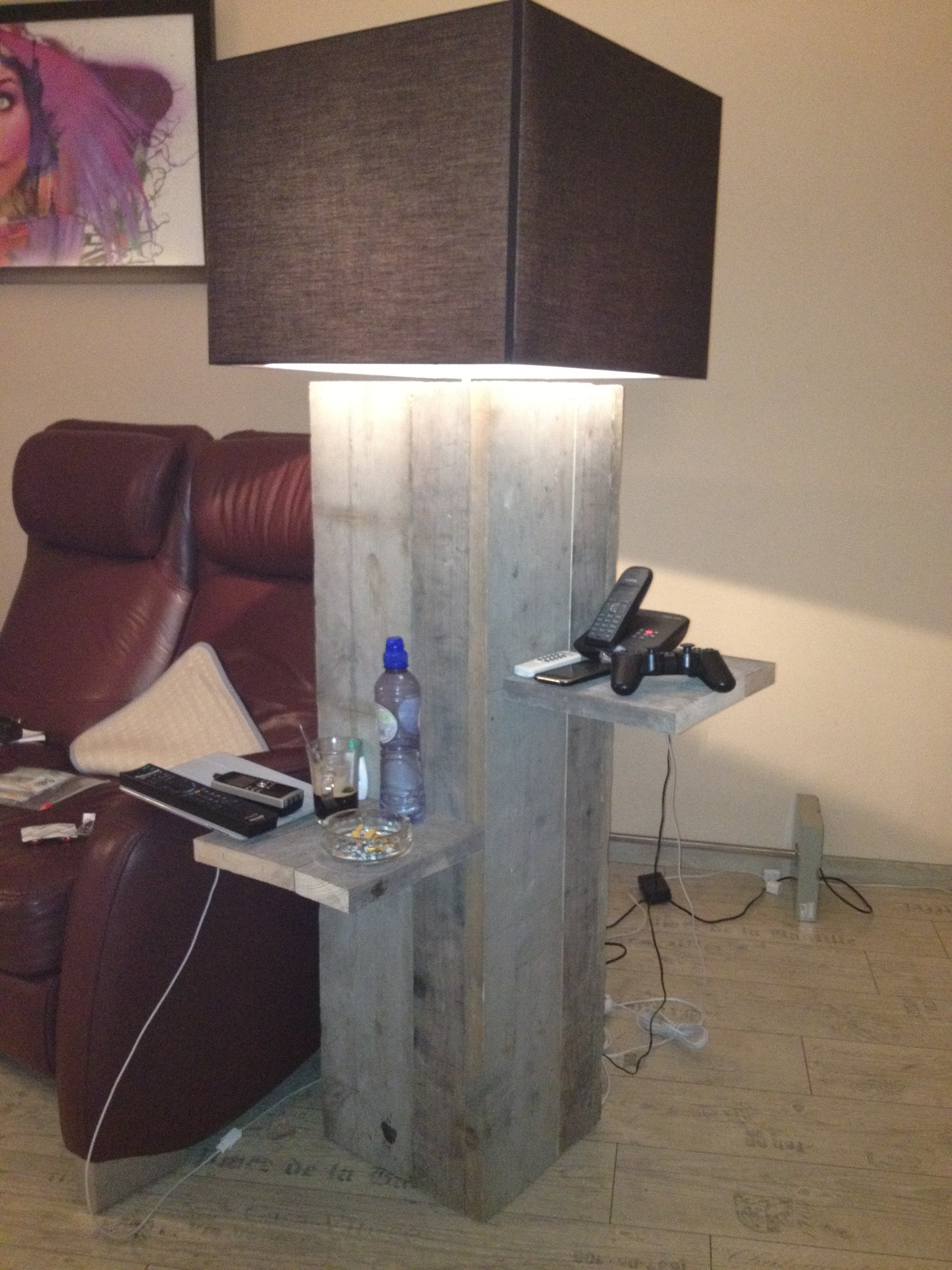 indoor/outdoor lamp with side table made out of wharf wood