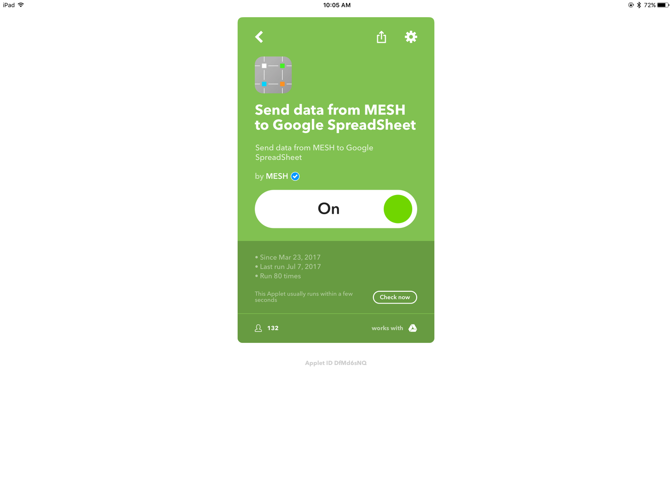 Program IFTTT App Block in the MESH App
