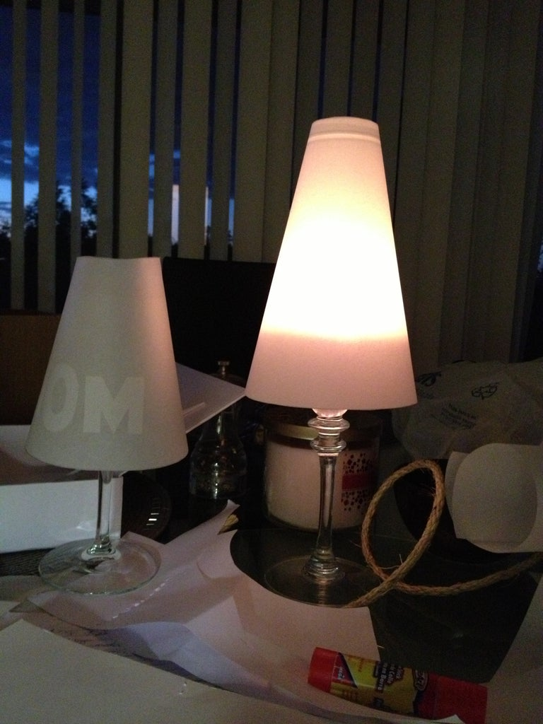 Wine Glass Lamp Shade (Wedding Place Markers?)