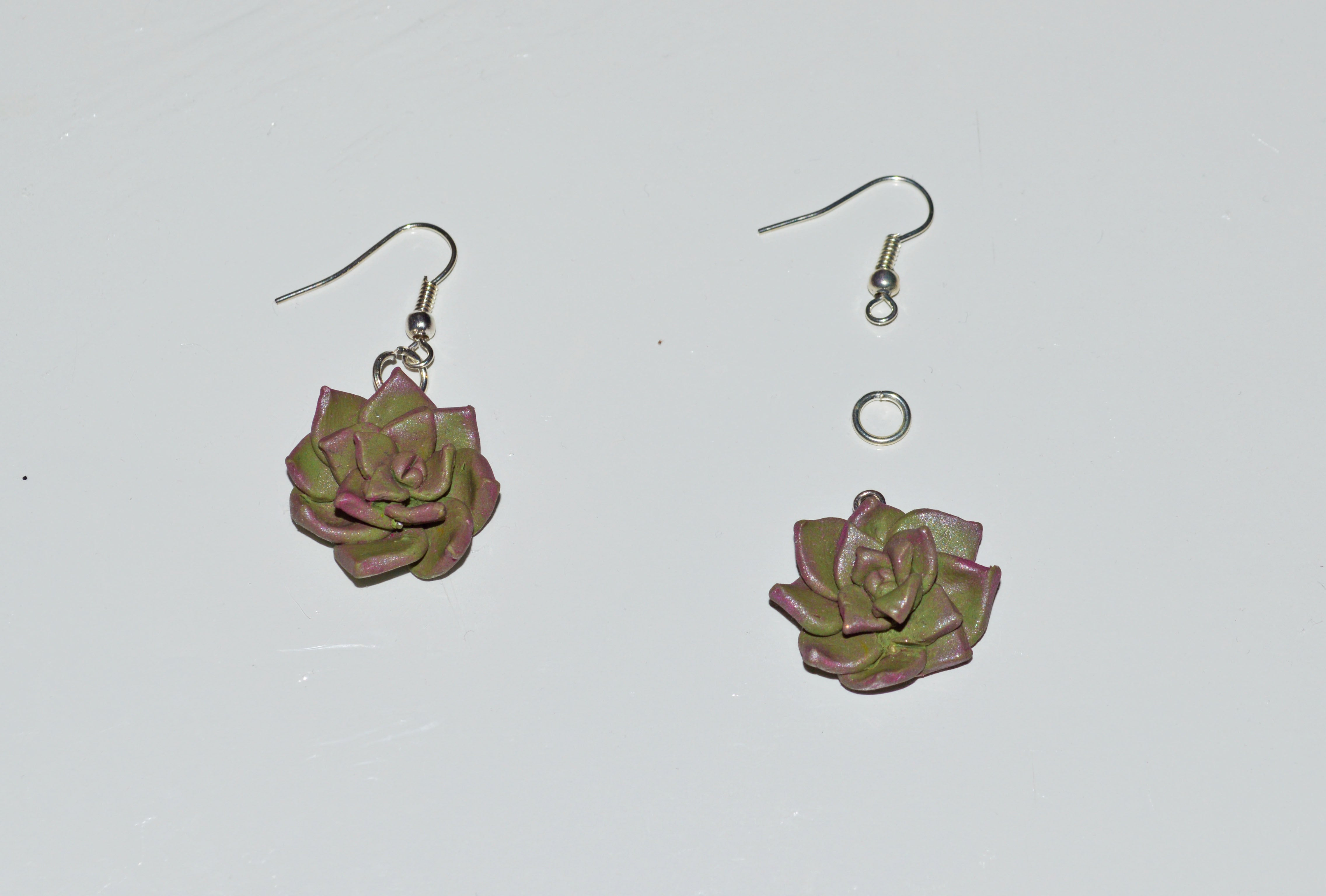 String of fishhooks Succulent Polymer Clay Earrings