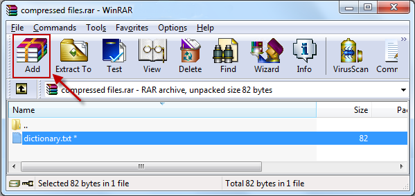 Add Another File in the RAR Document